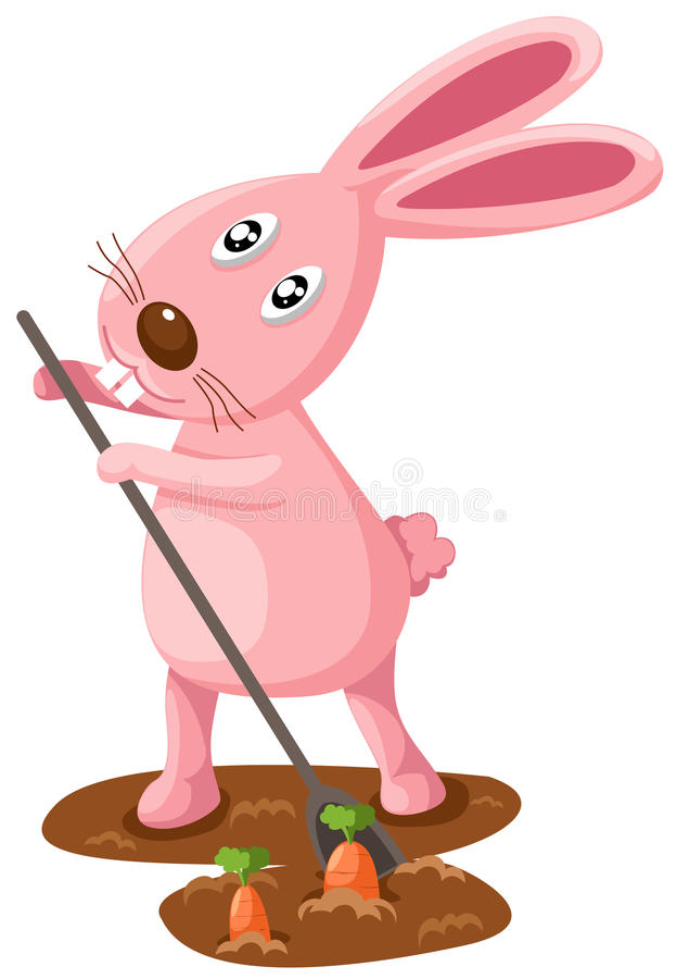 Rabbit digging carrots royalty free illustration