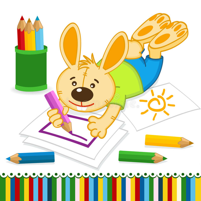 Rabbit drawing pencils vector illustration