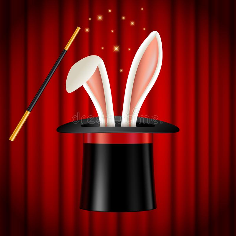 Rabbit ears appearing from magician hat, magic trick stock illustration