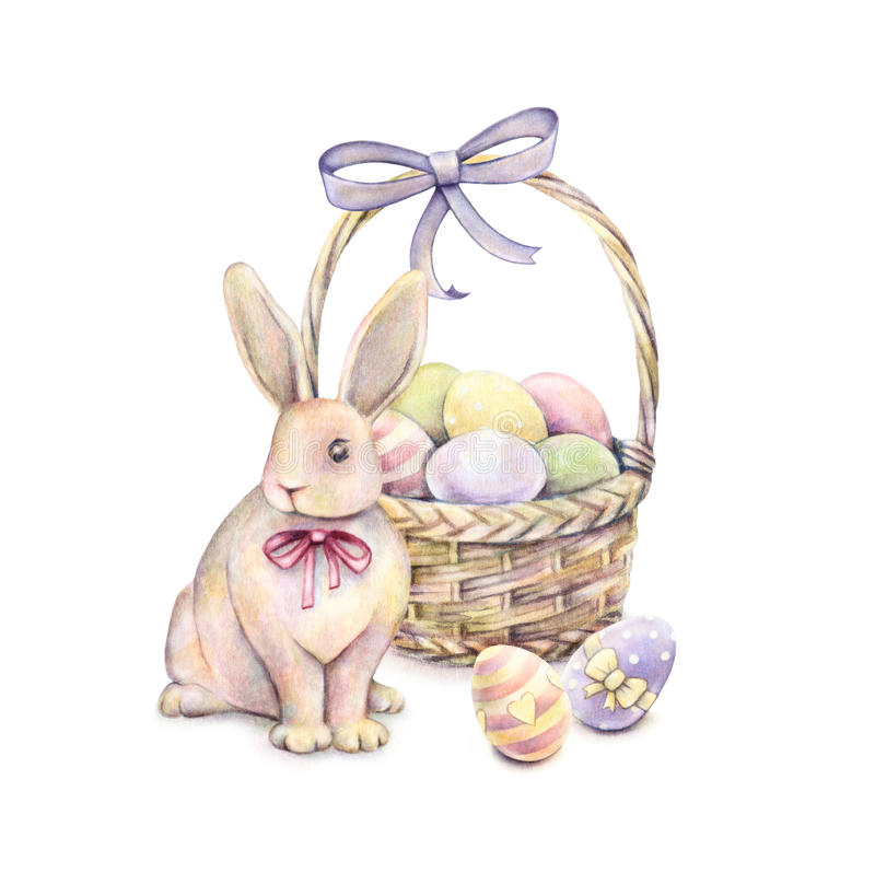 Rabbit with Easter basket on a white background. Color Easter eggs. Watercolor drawing. Handwork vector illustration
