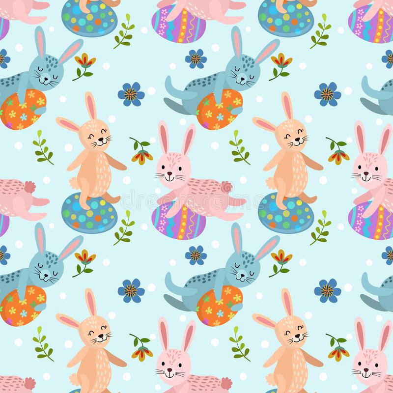 Rabbit with Easter egg seamless pattern vector illustration