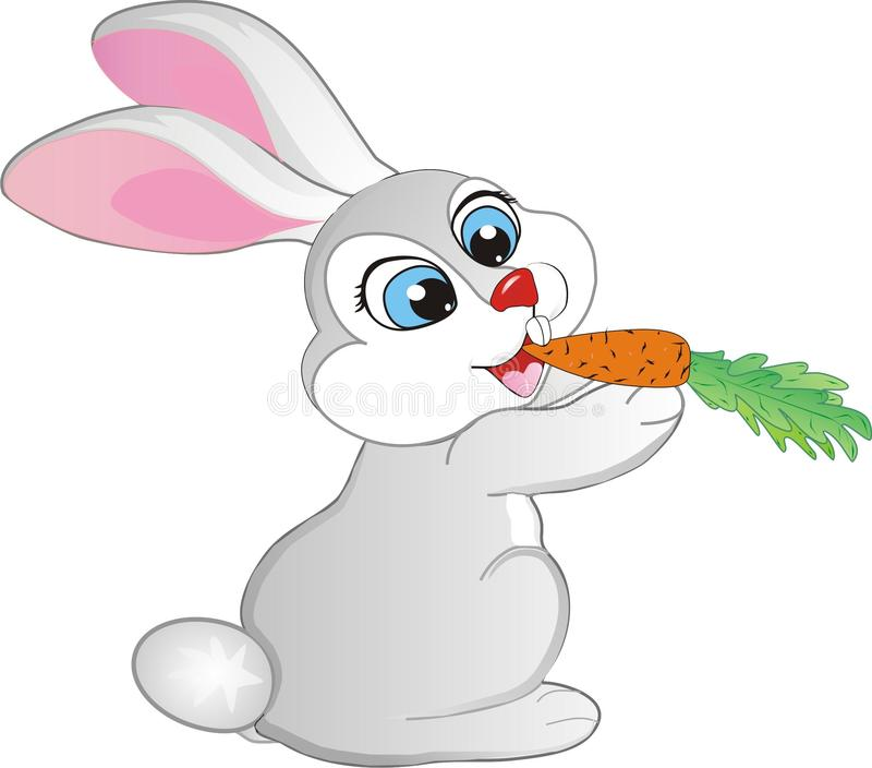 Rabbit eating a carrot. Cute rabbit eating carrot cartoon royalty free illustration