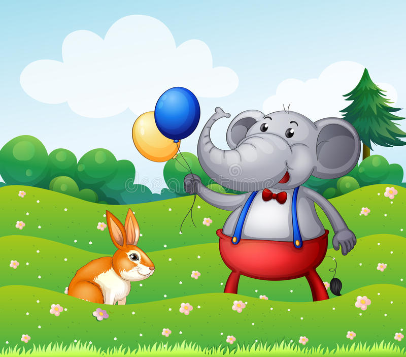 Download A Rabbit And An Elephant With Balloons Stock Vector - Illustration: 31911221