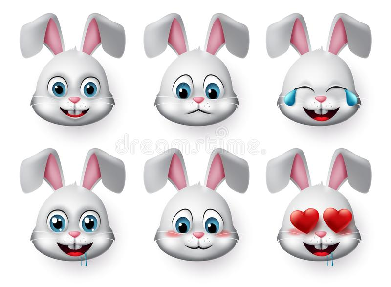 Rabbit emojis vector set. Rabbit or bunny emoticon cute face animal character with laughing, hungry, sad, blushing and in love moo royalty free stock images