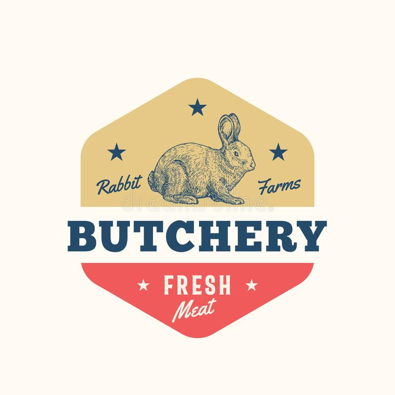 Rabbit Farms Fresh Meat Abstract Vector Sign, Symbol or Logo Template. Hand Drawn Rabbit Sillhouette with Retro royalty free illustration