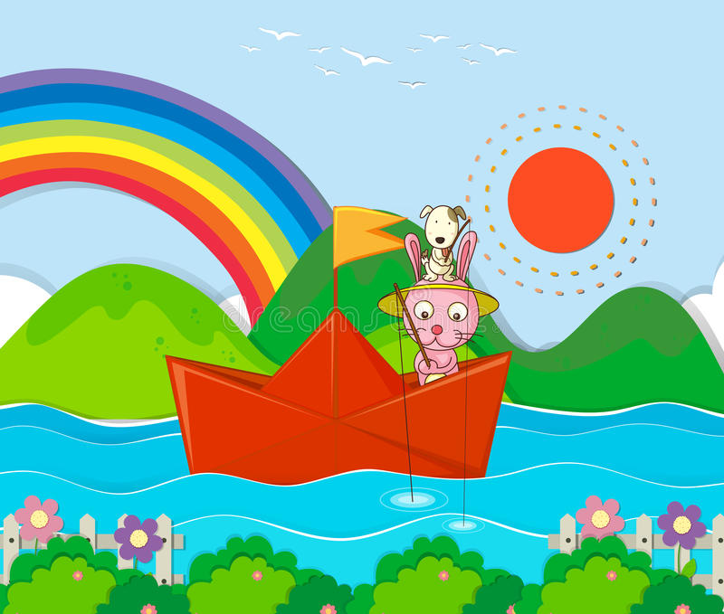 Rabbit fishing in paperboat in the river royalty free illustration