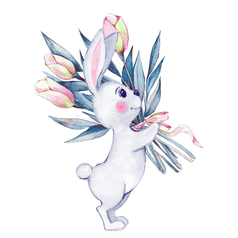 Rabbit and flowers. Watercolor illustration royalty free illustration