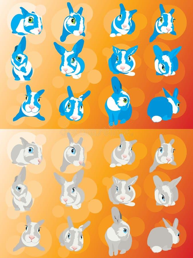 Rabbit fright animal bunny eye fear ears. Funny curious chicken-hearted rabbit stock illustration