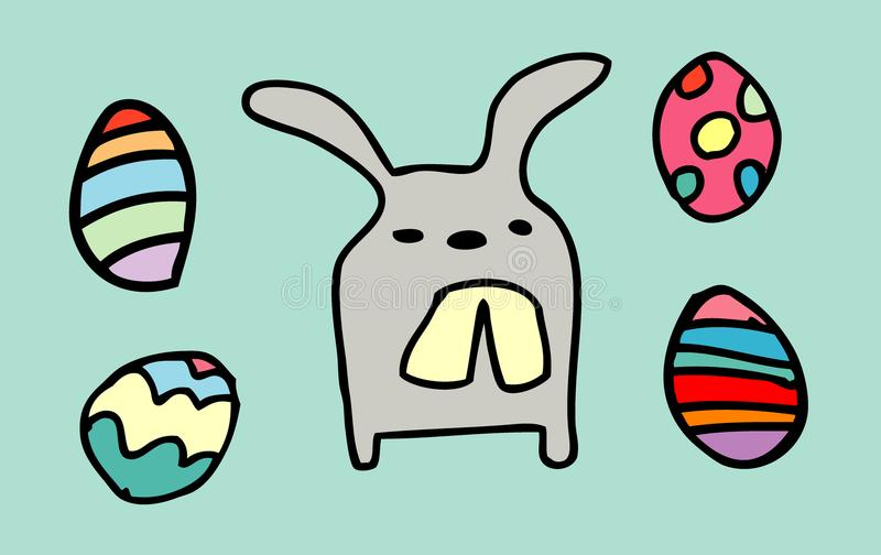 Rabbit funny,happy Easter eggs isolated on background. vector illustration. stock illustration