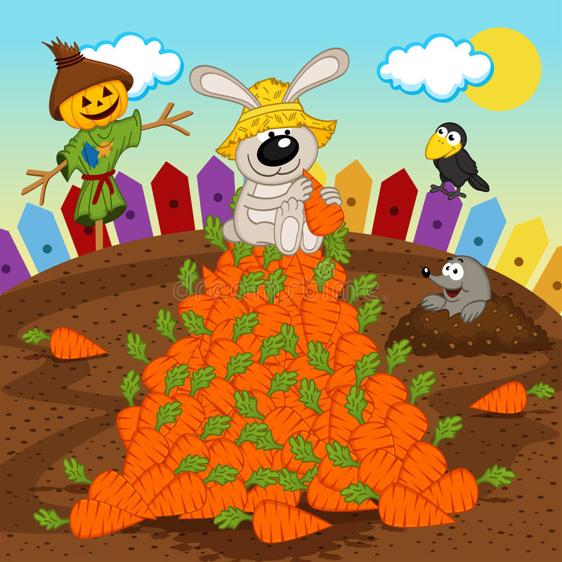 Rabbit harvesting carrot. Vector illustration, eps vector illustration