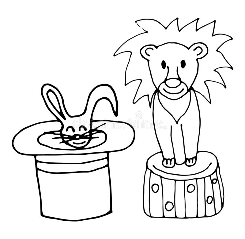 Rabbit in a hat and a lion. Vector hand-drawn illustration stock illustration