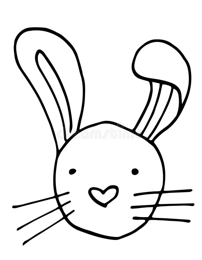 Rabbit Head Outline Art , Easter Animal, Coloring Page ...