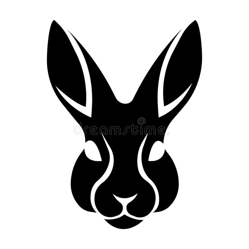 Free Rabbit Head, Silhouette Drawn In Black On A White Isolated Background. Minimalism Style, Tattoo. Easter Bunny. Logo Animal Royalty Free Stock Images - 171702219