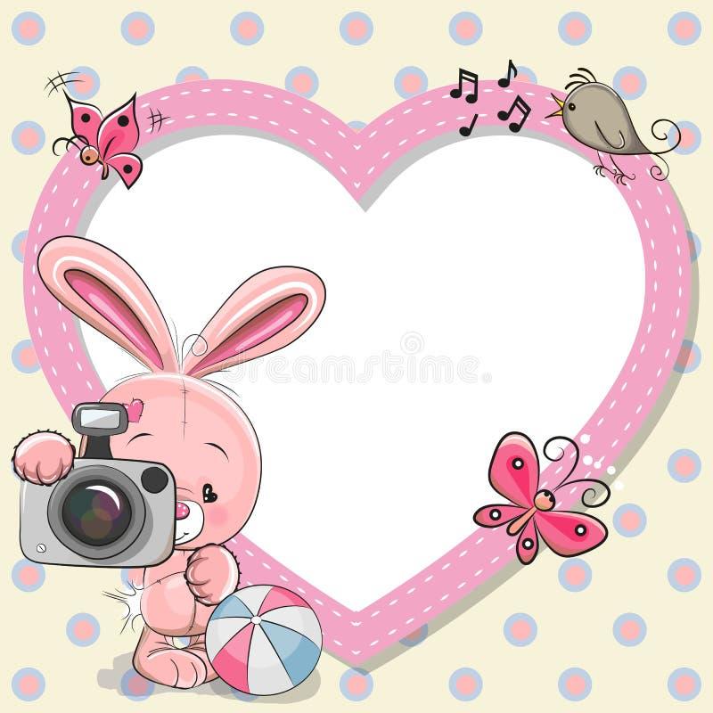 Rabbit with heart frame stock illustration