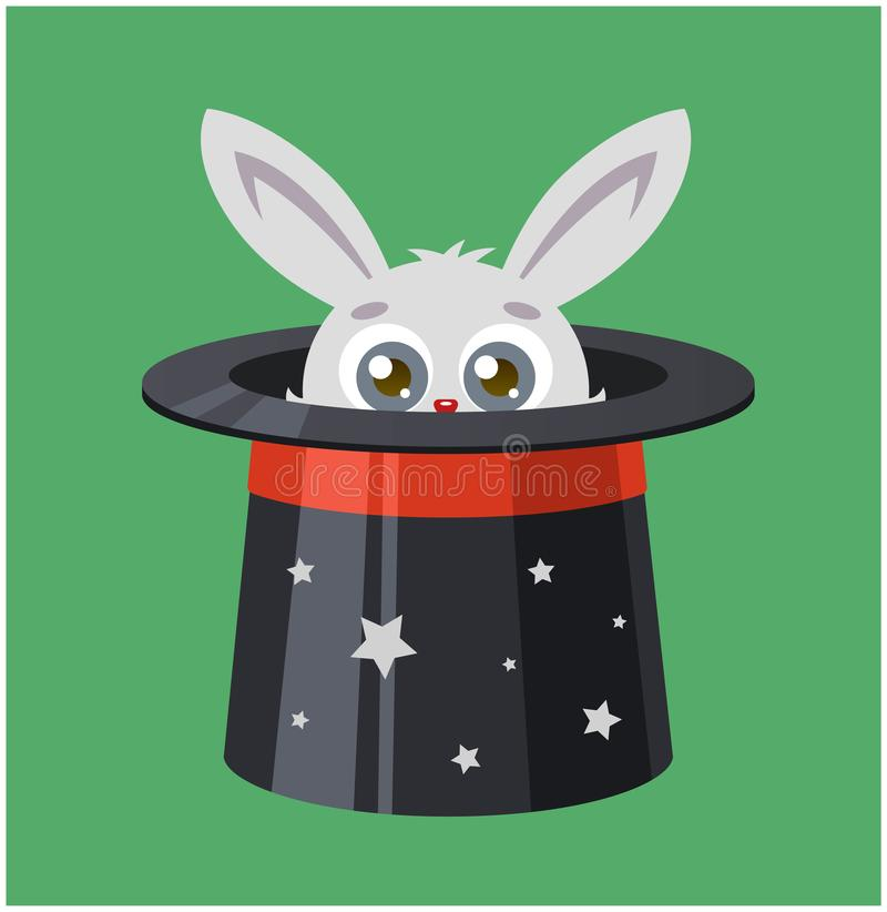 The rabbit hid in a top hat. magician shows a trick. royalty free illustration