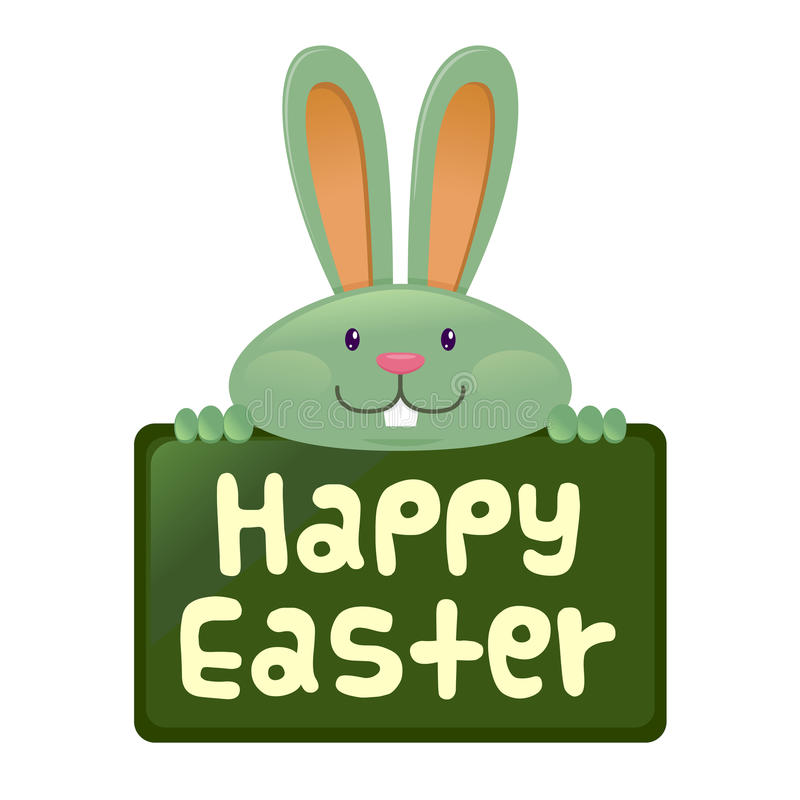 Rabbit Holding Happy Easter Sign Board Stock Vector ...