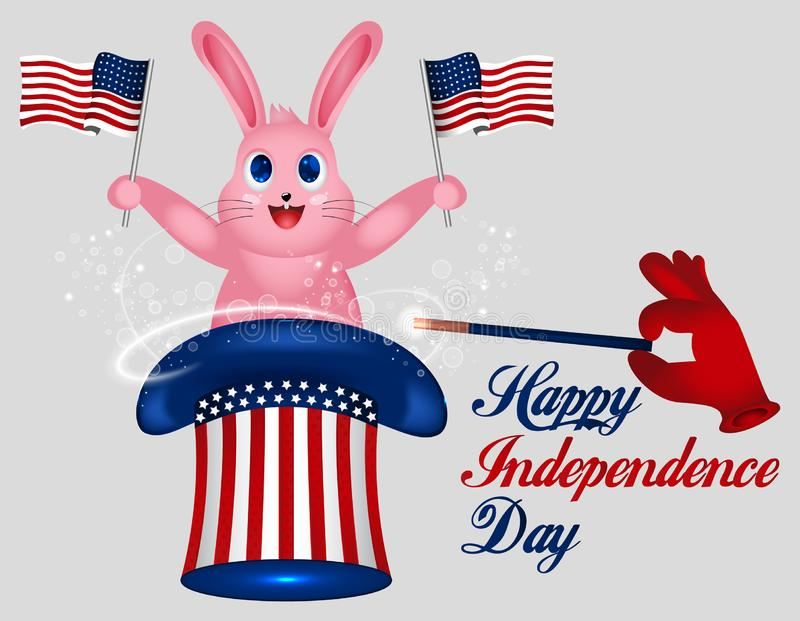 Rabbit Holds American Flag. Star striped Uncle Sam hat. American hat. Magic trick with rabbit in uncle Sam hat. 4th of July. Happy stock illustration