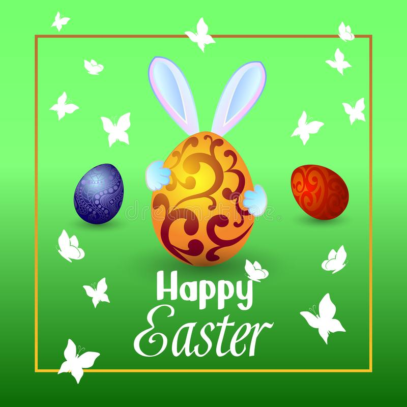 The rabbit holds a large Easter egg in his hands, butterflies fl royalty free stock image