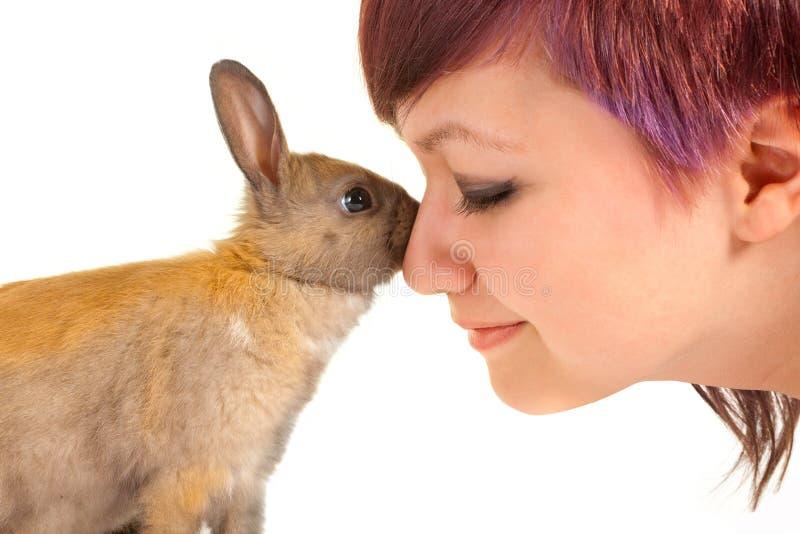 Rabbit hug royalty free stock photo