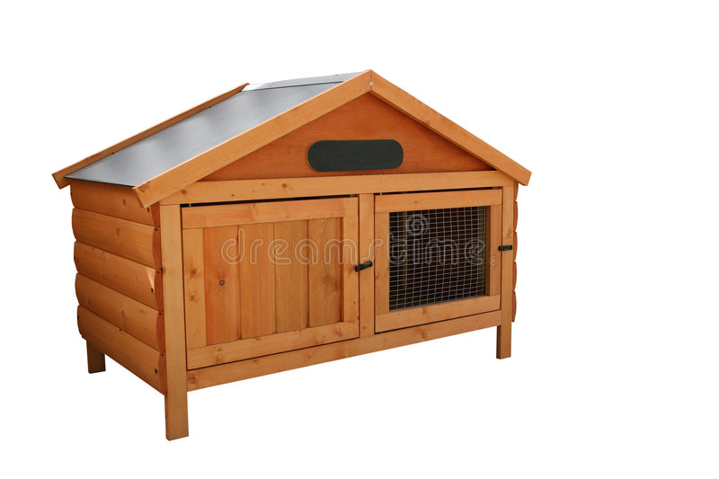 Rabbit Hutch. Wooden tongue and groove rabbit hutch, over white stock images