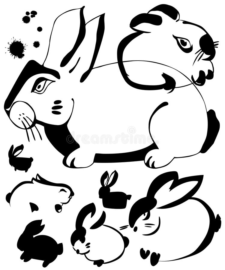 Download Rabbit ink art stock vector. Image of illustration, feather - 10633220