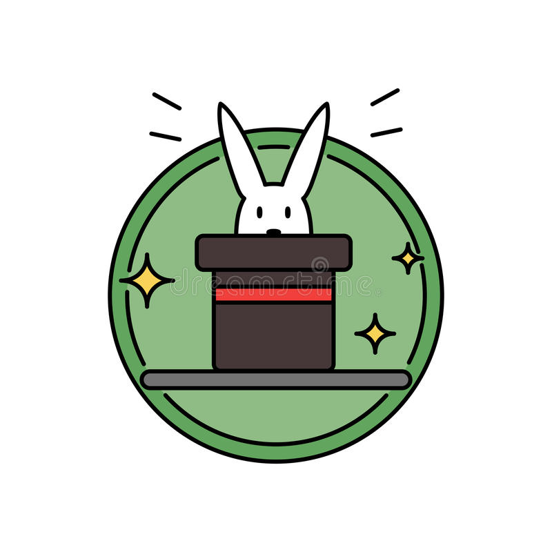 Rabbit inside magician hat, funny magic trick concept circle badge royalty free illustration