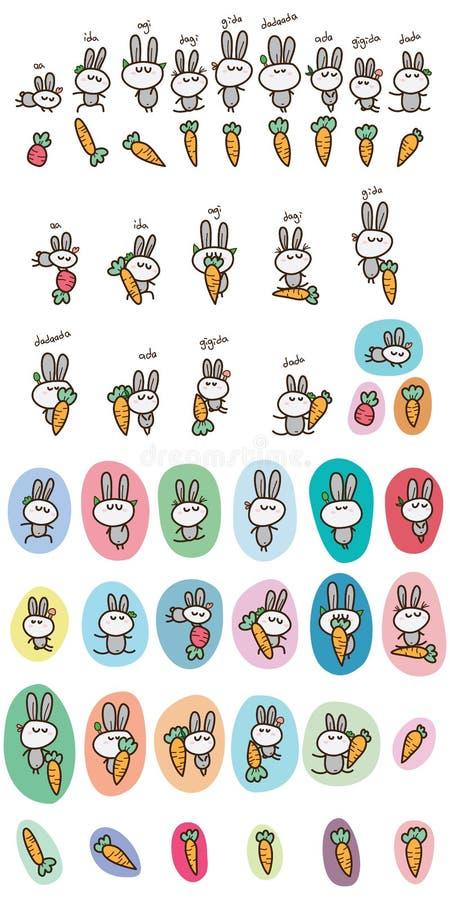 Rabbit language set vector illustration