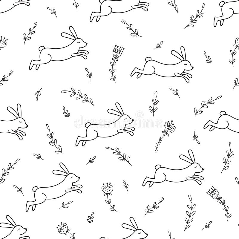 Rabbit_line_seamless_pattern foto de archivo libre de regalías