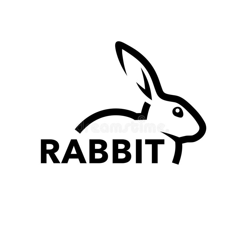 Rabbit logo concept with black bunny line icon. Farm rabbit logo concept with profile of black bunny line icon isolated on white background. Vector illustration royalty free illustration