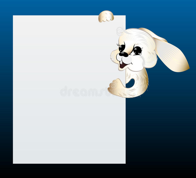 Download Rabbit Looking Out Of Blank Sheet Of Paper. Stock Image - Image: 25767381