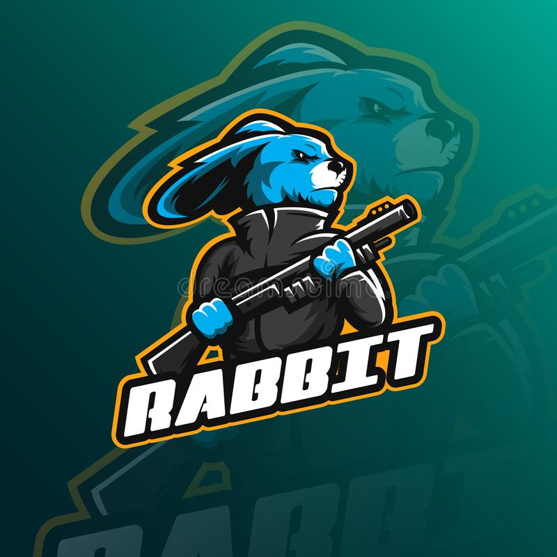 Rabbit mascot logo design. For sport,e-sport, game and digital company royalty free illustration