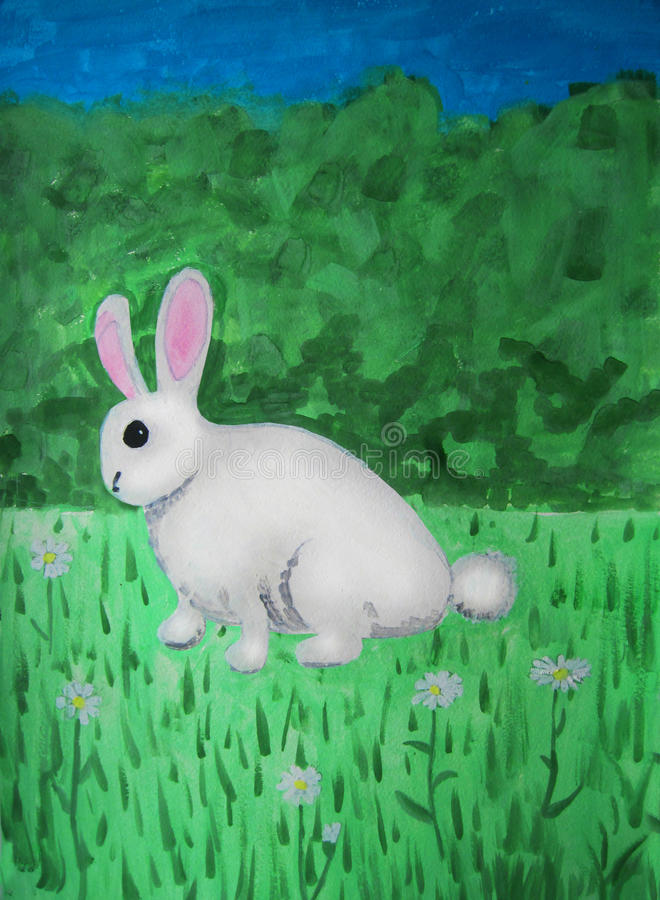 Rabbit in the meadow stock illustration