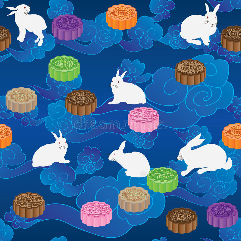 Rabbit moon cake horizontal cloud sky seamless pattern stock illustration