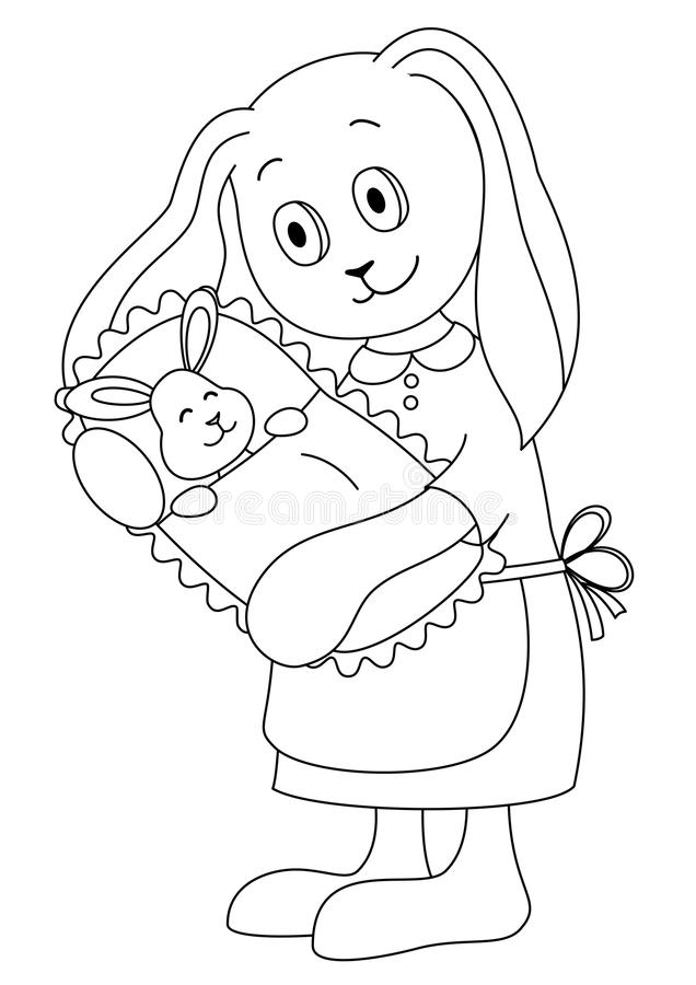 Download Rabbit Mother With The Child, Contours Stock Vector - Image: 16869284