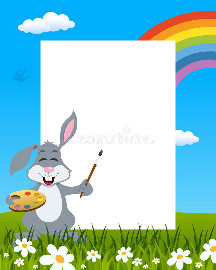 Rabbit with Palette Easter Vertical Frame stock photos