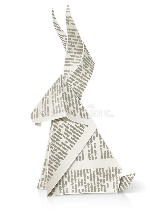 Rabbit paper origami toy. Vector illustration on white background EPS10. Transparent objects used for shadows and lights drawing stock illustration