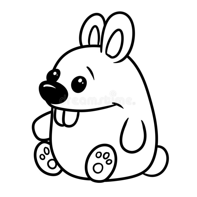 Rabbit parody caricature animal character coloring page stock illustration