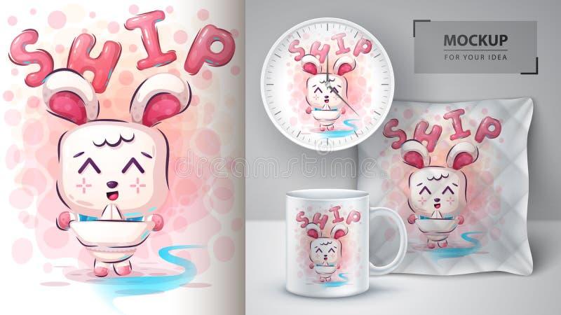 Rabbit play poster and merchandising. Vector eps 10 vector illustration