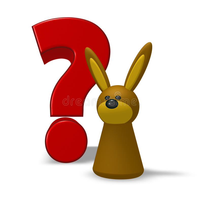 Rabbit And Question Mark Royalty Free Stock Photo