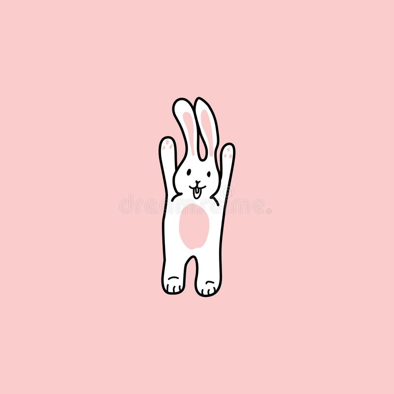 The rabbit raised its paws up. funny bunny. hand drawn elements stock illustration
