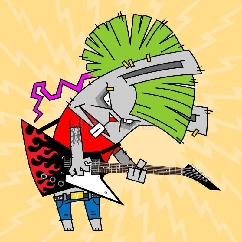 Rabbit_rock_guitarist ilustração stock
