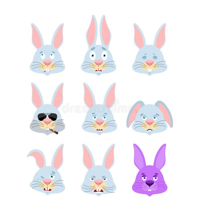 Rabbit set emoji avatar. sad and angry face. guilty and sleeping stock illustration