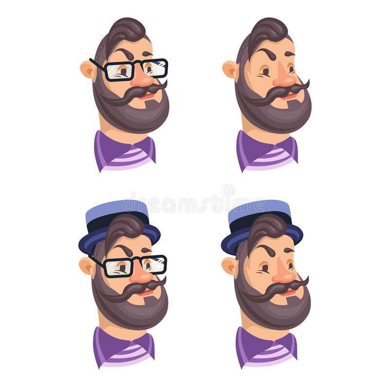 Set of vector bearded men faces hipsters. With retro hat, eyeglass, haircuts, mustaches, beards. Silhouettes, avatars, heads, emblems, icons, labels stock illustration