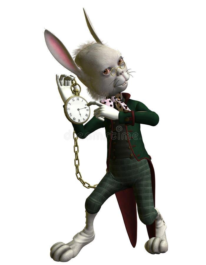 Rabbit shows a Clock vector illustration
