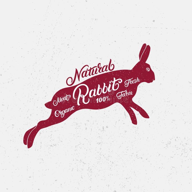 Rabbit silhouette and hand written lettering words rabbit, vector illustration