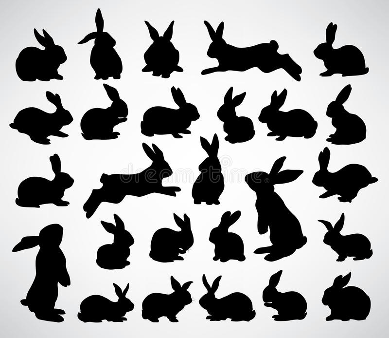 Rabbit silhouettes. Big collection of rabbit silhouettes
