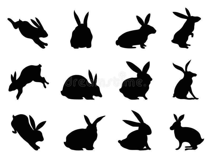 Rabbit silhouettes royalty free illustration
