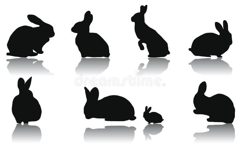 Rabbit Silhouettes Royalty Free Stock Photos