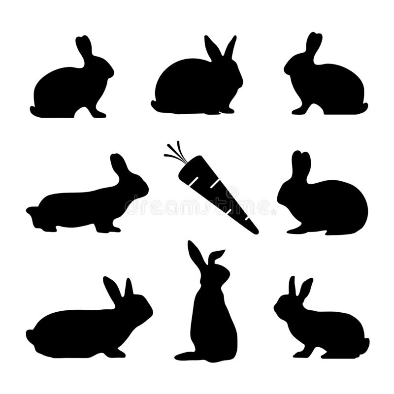 Rabbit Silhouettes And Carrot - Black Vector Illustration Set - Isolated On White Background stock illustration