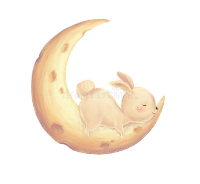 Rabbit sleep on moon stock illustration